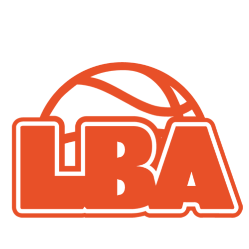 A basketball with orange outline and white background with words in orange spelling LBA, standing for London Basketball Association.