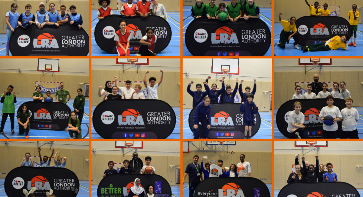 A collage of pictures containing group pictures of the different primary school students playing for the competition.