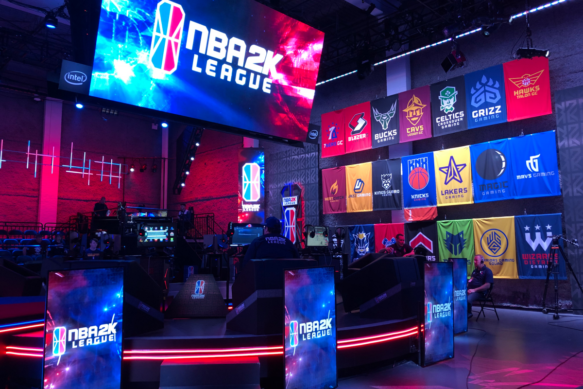 The NBA 2K League New York studio, also showing the teams participating for season 2. © Sports Video Group